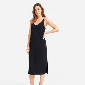 EVERLANE BLACK JAPANESE GOWEAVE MIDI SLIP DRESS